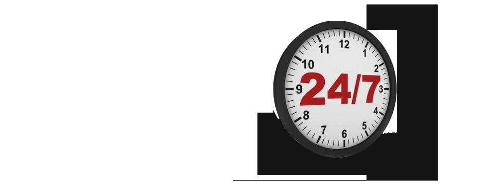 całodobowa wymiana walut przedstawia zegar 24/7