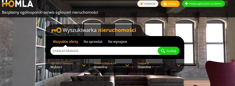 homla - printscreen wyszukiwarki nieruchomości