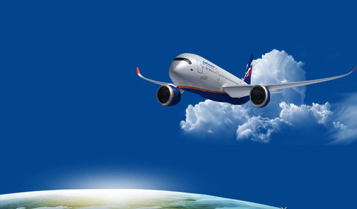 aeroflot samolot w powietrzu na tle zakrzywiony horyzont ziemi