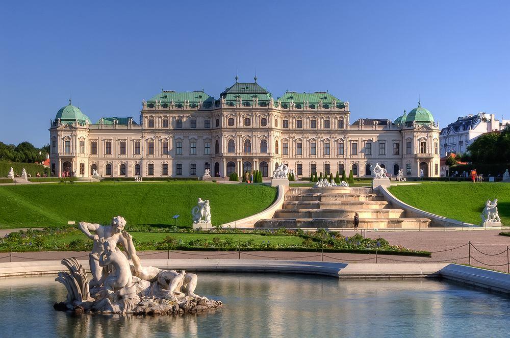 wiedeń - widok na pałac i fontannę