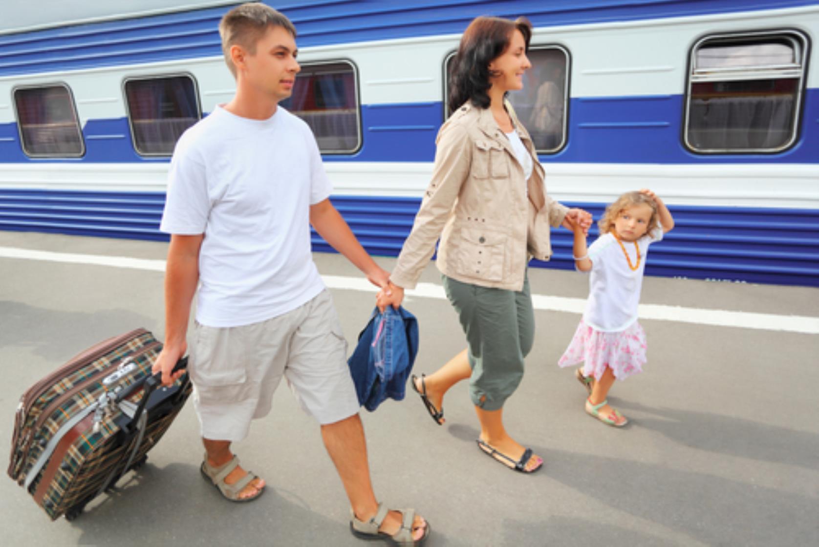 rodzina i podróże pociągiem